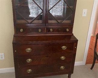 Sheraton mahogany and mahogany veneer secretary bookcase c. 1825