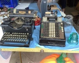 Antique Royal typewriter.  Also antique adding machine