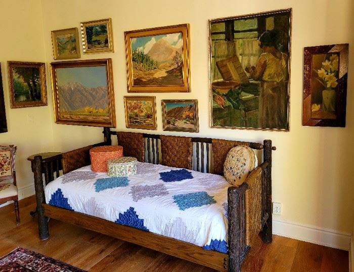 Vintage original art and a fine Old Hickory Day Bed.