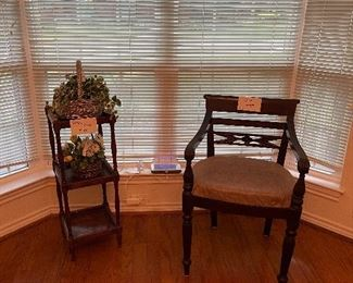 Plant stand, Chair, Floral
