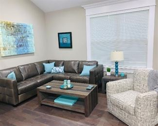 Leather sectional, Greyson swivel arm chair,