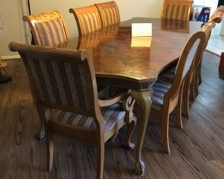 Dining table, 8 chairs