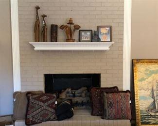 Turkish wool rug pillows, gas logs, misc