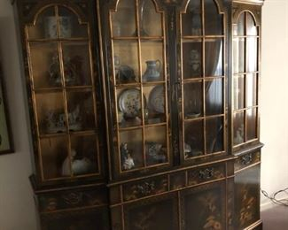 Stunning Maslow Freen Chinoiserie Style Breakfront / China Cabinet