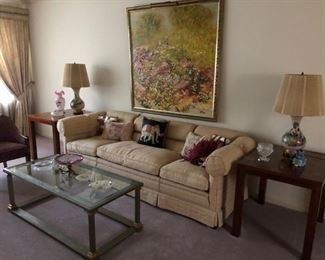 Sofa, Coffee Table, Audrey Heffner Painting, Mid Century Modern Parquet Side Tables, Lamps