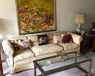 Sofa, Coffee Table, Audrey Heffner Painting
