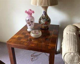 Pair of Mid Century Modern Parquet Side Tables, Pair of Lamps