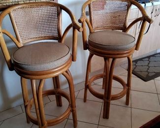 AIS064 - Four Rattan Barstools/Chairs w/Seat Cushions