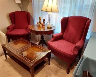 Wingback Chairs, Leather Top Tables