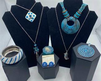 004 Aqua Jewelry Necklaces, Bracelet, Pendant, Earrings