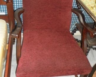 Mid century burgundy fabric chair  no rips/stains