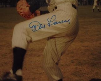 Framed & matted signed picture Don Larson NY Yankees