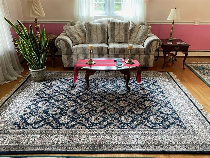 Couch - $150, Rug - $200, End table - $50, Lamp -$25