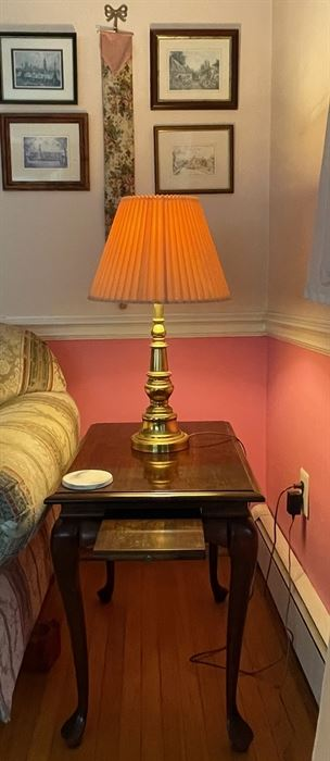 Queen Anne style end table $50, Lamp $25