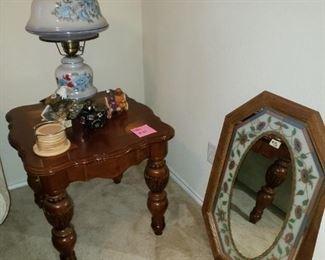 Side Table Vintage Lamp Mirror