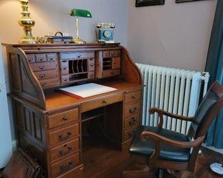 """Roll-top Desk - 50"""" high x 53"""" wide x 28"""" deep"""