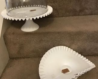 Vintage Milk Glass Cake Plate and Banana/Fruit Bowl