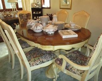 Dining table with six chairs