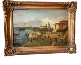 """Lot 001 """"Entrance to the Grand Canal from the Molo, Venice"""" by Canaletto Framed Print"""