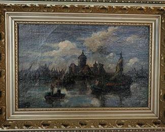 1914 oil painting by Johan Hendrik van Masterbroek, 1875-1915, listed Dutch artist.