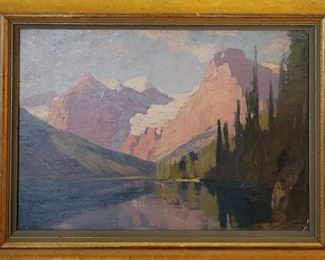 Collection of three antique oil paintings by Fritz Biberstein.