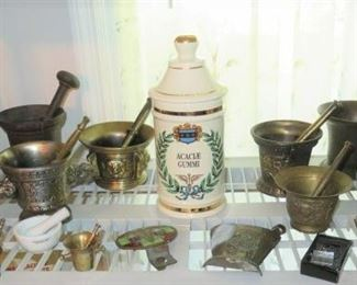 Vintage Brass Rx Pharmacy Apothecary Mortar and Pestle Collection