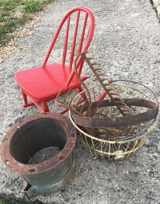 Children's Rocking chair, egg basket, metal rake heads & Metal works.