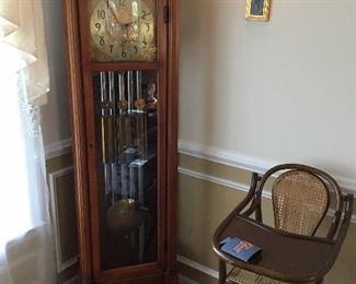 Grandfather Clock, antique high chair