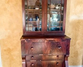 Beautiful Empire secretary. All chips in the wood have been kept for repair/restoration.