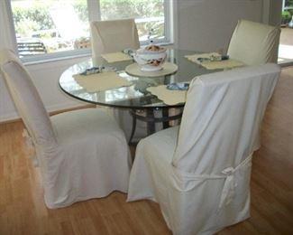 Round Glass top Table with Metal base and 4 Chairs