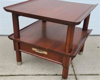 High End Mid Century Modern Solid Cherry Willett Two Tier Chevet Table w/ Dovetailed Drawer