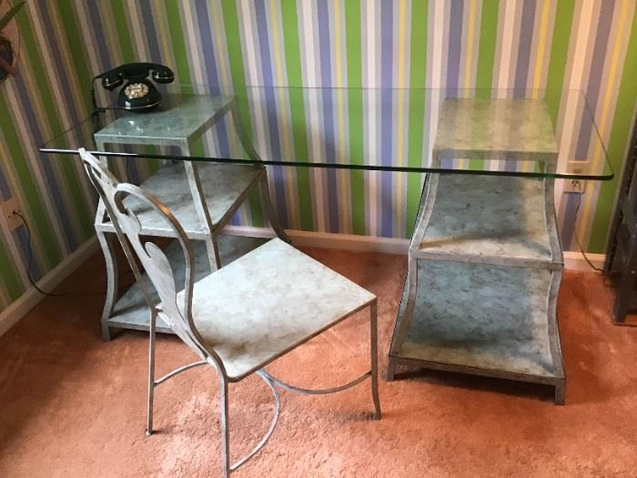Glass Top Desk and Chair