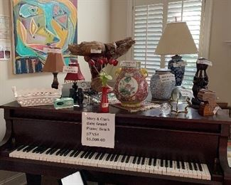 Baby Grand Piano/ bench - Story and Clark                                    Art Work above 2 pix by Kelly Fischer ( more of her art on Sale