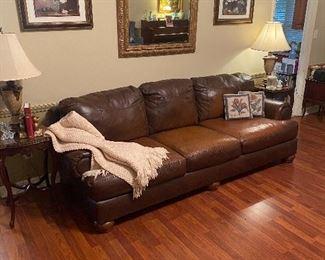 Nice large brown leather sofa