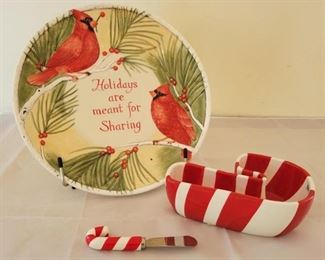 """1 - """"Holidays are meant for Sharing"""" Plate & Dip Set Plate 11"""" Candy Cane 7"""" long x 2 1/2"""" high"""