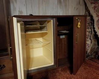 Office credenza with locking fridge