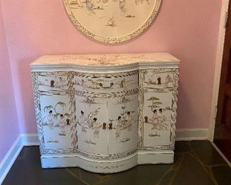 White Chinese Lacquer  Cabinet & Medallion