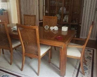 MID CENTURY DINING ROOM SET WITH CHINA CABINET SIDEBOARD AND TABLE 2 LEAVES & CHAIRS ALL FOR $ 550.00