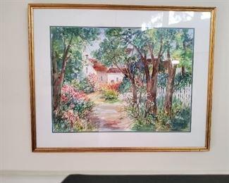 Pinehurst Artist Jeanette G. Sheehan Framed Watercolor