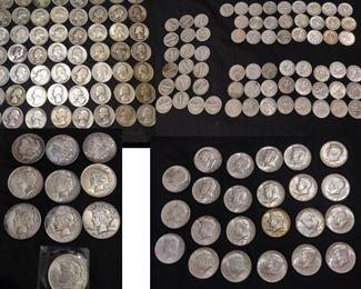 silver coins, peace and morgan dollar, Kennedy half, Franklin half, dimes, quarters