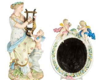 Bisque Lady with Harp and Cherubs with Porcelain Mirror