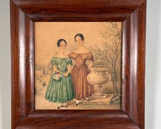 COLORED PENCIL DRAWING | Hand-drawn, showing two young girls in Victorian garb; 11-1/2 x 11-1/2 in. (frame)