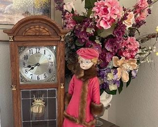 Table clock and doll