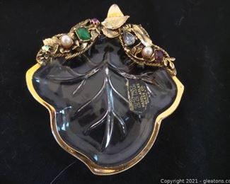Vintage 24kt Atlas Glass Dish with Stones