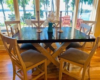 Counter Height Wood, Farm Style Dining Table and 6 Chairs