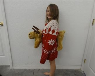 Ugly Christmas Sweater Contest Winner with Plush Reindeer (Front and Back) - Size S
