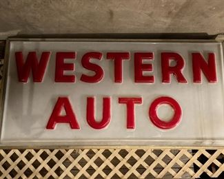 Huge Double Sided Western Auto Sign