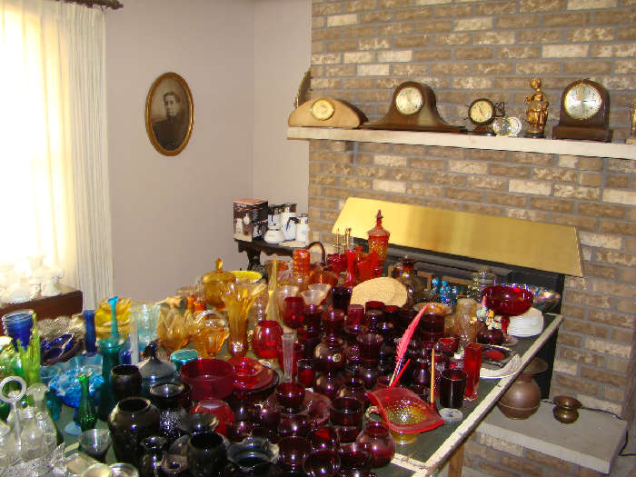 Selection of Colored Glass and Clocks