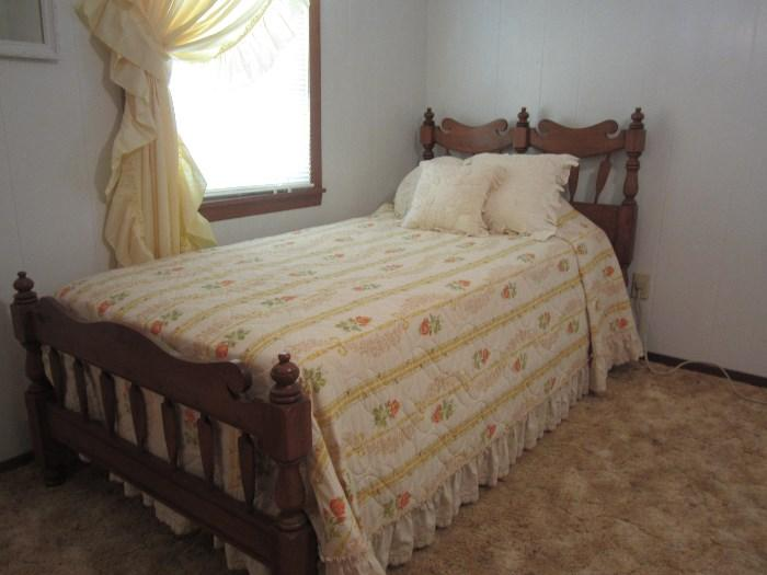 Two Solid Wood Twin Headboard and Footboard With Mattresses