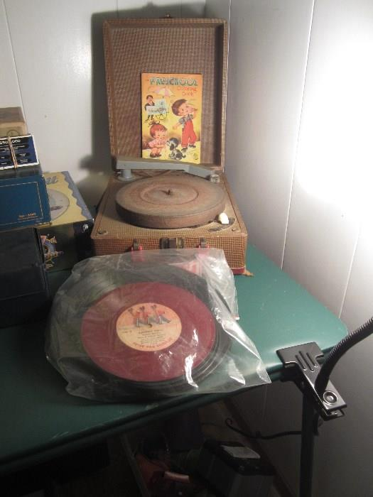 Vintage Record Player And Records